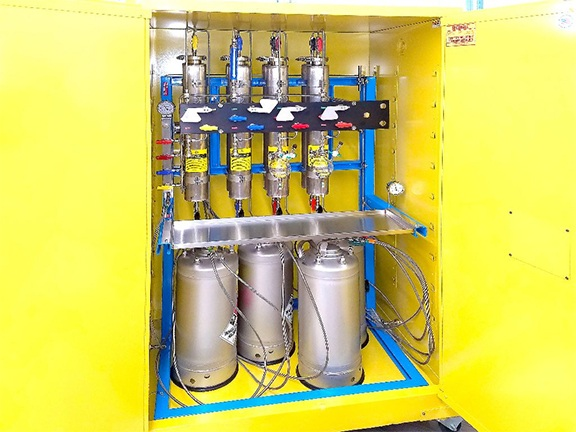 Biotech Company chemical biology and synthetic chemistry using enclosed cabinet solvent Purification System